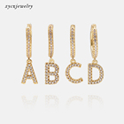 Gold Plated Earrings Earrings Wholesale 2020 New Fashion 26 Letters Of Alphabet 18k Gold Plated CZ Charms Letter Initial Earrings