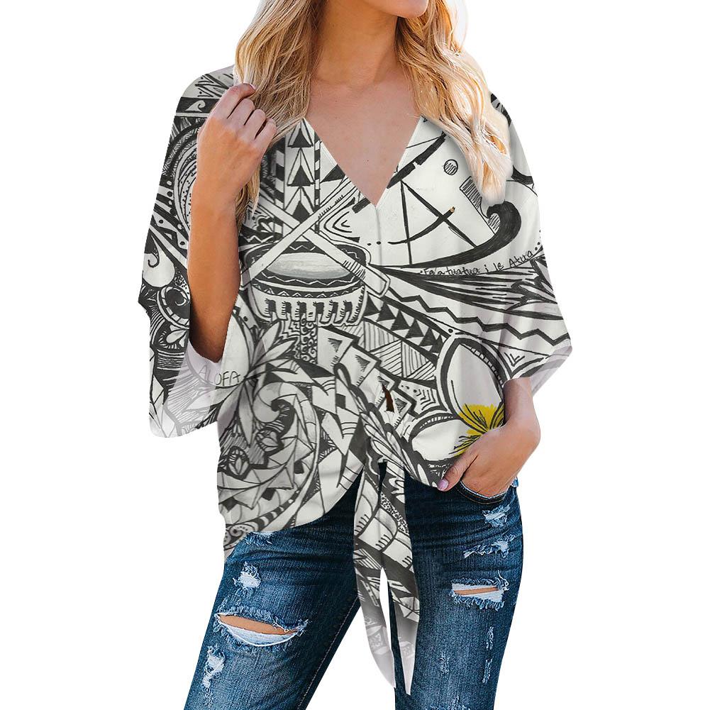 POD Polynesian Traditional Tribal style Chiffon Tops Woman Blouses Fashion Printed Chiffon Shirt Custom Women Chiffon Blouse