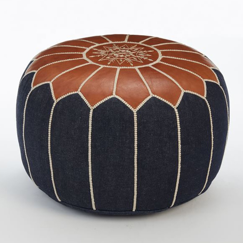 Modern Brown Round Moroccan Leather Pouf Ottoman Footstool Buy Leather Pouffe Moroccan Pouf Brown Leather Footstool Round Modern Footstool Ottoman Product On Alibaba Com