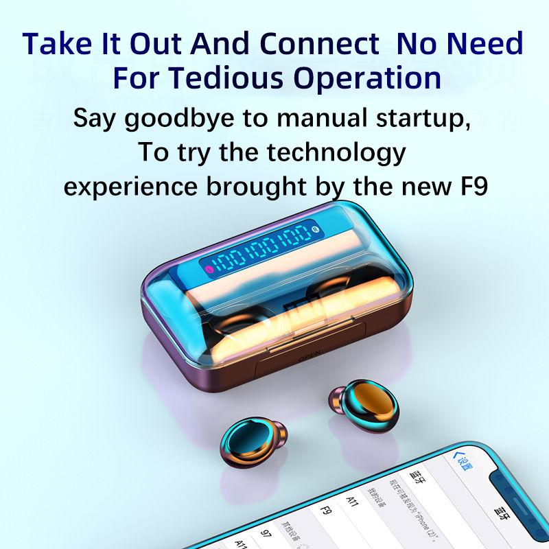 Беспроводные наушники F9 TWS 5,0, мини-наушники-вкладыши TWS, Спортивная игровая гарнитура для бега, телефоны HD, звонки, Светодиодный дисплей питания