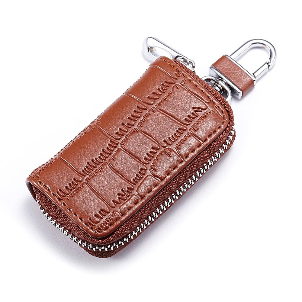 Fashion Men's Zipper Car Key Case Wallet Crocodile Pattern Leather Car Key Holder
