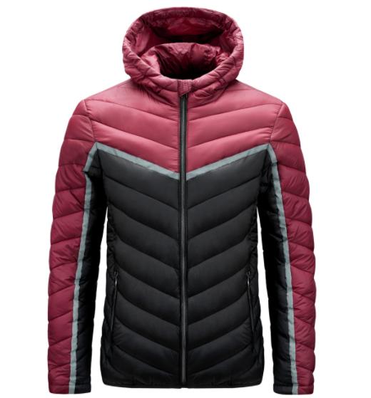 TMW Wholesale winter Keep warm thickened hooded coat long sleeve light zipper Patchwork down jacket men down jacket