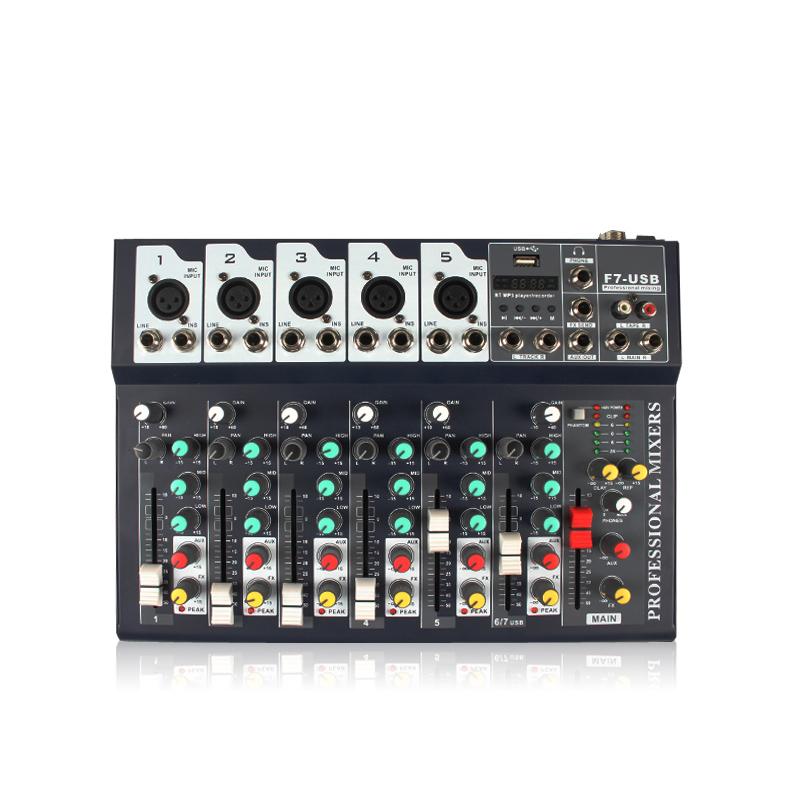 OEM usb f 7 каналов звука микшер усилитель Профессиональное аудио usb dj Американский 12