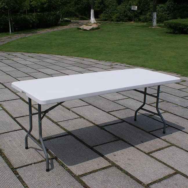 Hot sale outdoor 6ft rectangular plastic folding trestle table for indoor and outdoor used