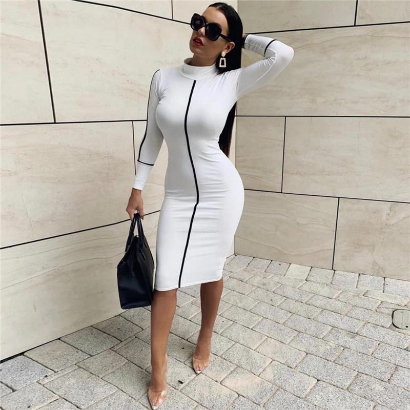Borong 2019 Fesyen Baru Seksi Kolar Tinggi Midi Berpakaian Mỏng Sesuai dengan Pakaian Wanita Lengan Panjang Leng Hijau Hijau