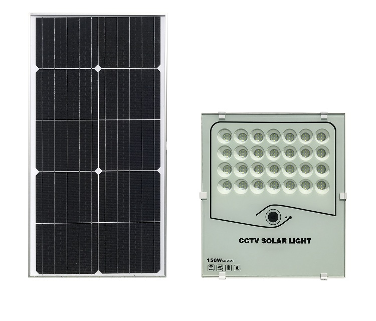 150W Color box packing retail  CCTV Solar flood light security lamp