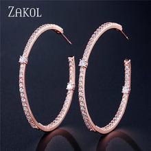ZAKOL модные AAA багет кубический цирконий T обруч с камнем Серьги для женщин модные круглые свадебные аксессуары FSEP2295(Китай)