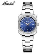 Женские кварцевые часы MISSFOX, классические водонепроницаемые часы золотого цвета с квадратным циферблатом 18 К, 2020(China)