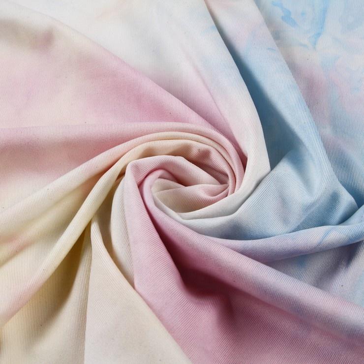 New design elegant beautiful tie dye single polyester spandex jersey fabric for women