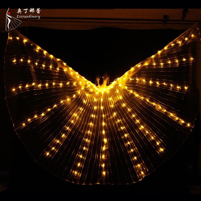 Новинка для взрослых 7 цветов изменяющиеся Светодиодные Крылья Исида регулируемый реквизит для танца живота 360 градусов Светодиодные Крылья Ангела