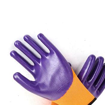 Exquisite Polyester Purple Half Labor Orange Nitrile Work Gloves