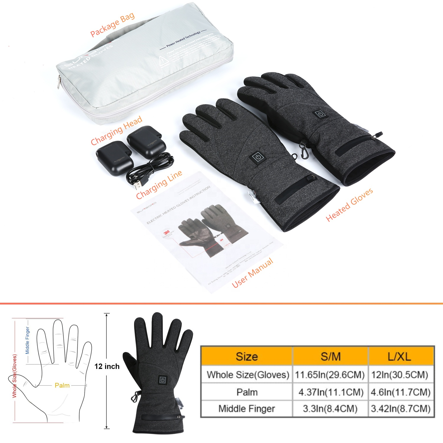 Sunbond Heated Gloves | 3M Cotton Touch Screen Heating Control Rechargeable Battery Hand Warmer for Treatment of Arthritis | for