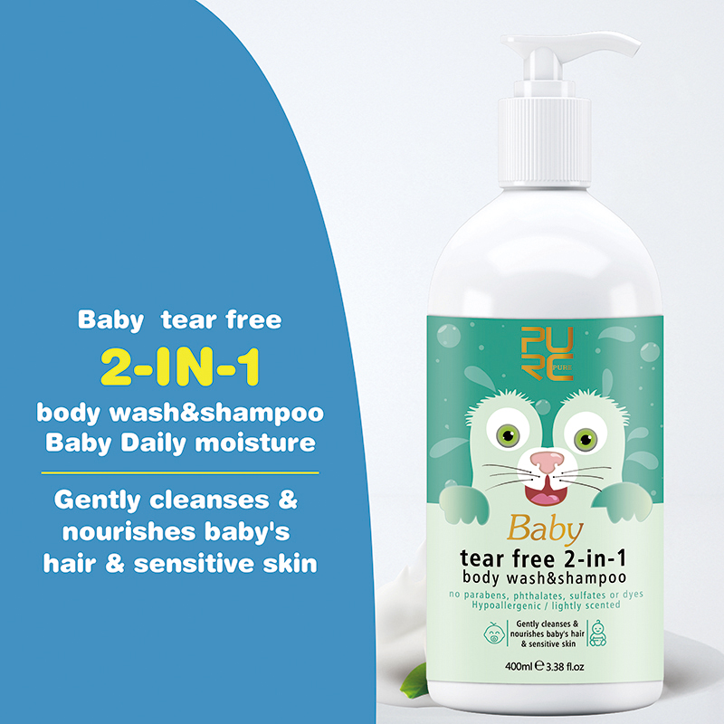Private Label Natural 2 in 1 Baby Body Wash Shampoo Tear Free Customize OEM