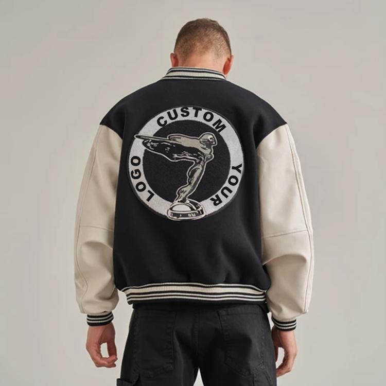 custom logo high quality men patchwork leather woolen vintage towel embroidery varisty bomber jacket
