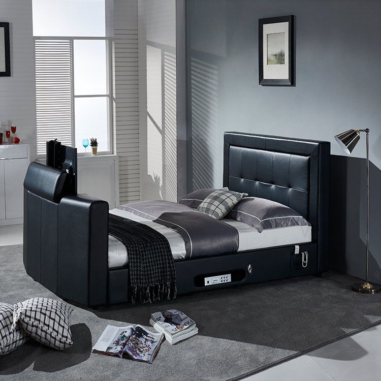 modern faux pu leather automatic lift tv bed