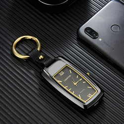 Оригинальная беспламенная многофункциональная ветрозащитная USB-зажигалка фонарик и часы Четыре в одном функциональный брелок