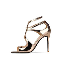 Сандалии золотистого цвета размера плюс женская обувь на высоком каблуке Летняя пикантная обувь для вечеринок с открытым носком открытый к...(Китай)