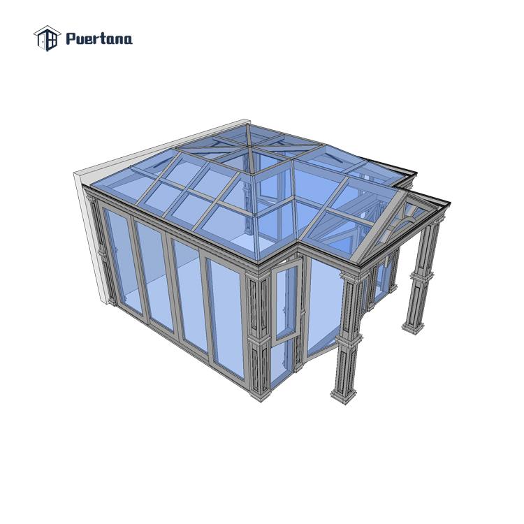 Дешевая цена, алюминиевый сборный стеклянный дом консерватории для продажи