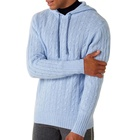 Cable 100% cashmere hoodie for men