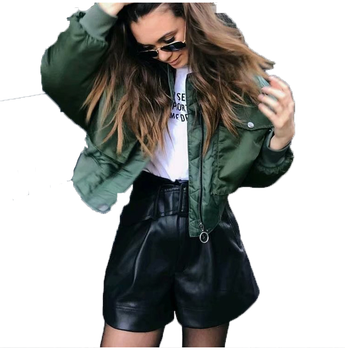 double pockets army green bomber jacket women autumn winter streetwear casual basic coats jackets