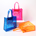 Custom Printing Candy Colored Transparent Women's Handbag Clear PVC Jelly Waterproof Beach Tote Bag
