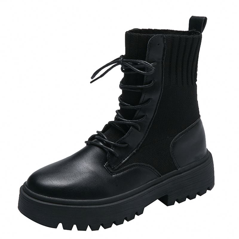 Новинка 2019, черные носки, британские БОТИНКИ, увеличенные рост, женские зимние ботинки до щиколотки, женские ботинки