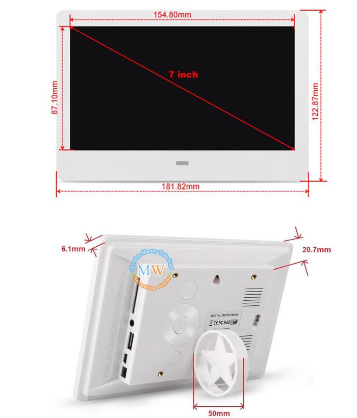 Пластиковый 7 дюймов настенный портативный вентилятор на батарейках ЖК-цифровая фоторамка для просмотра