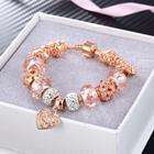Bracelets Charm For New Arrival Exquisite Design Austrian Crystal Beads Bracelets Rose Gold Plated Heart Charm Bracelets For Women Party