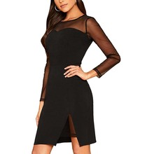 Frauen Sehen Durch Mesh Stretch Langarm Bodycon Mesh Slim Fit Cocktail Kleid