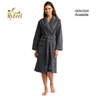 Ladies Girls Unisex Terry Towelling Dressing Gown Womens 100% Cotton Bathrobes Robe de Bain