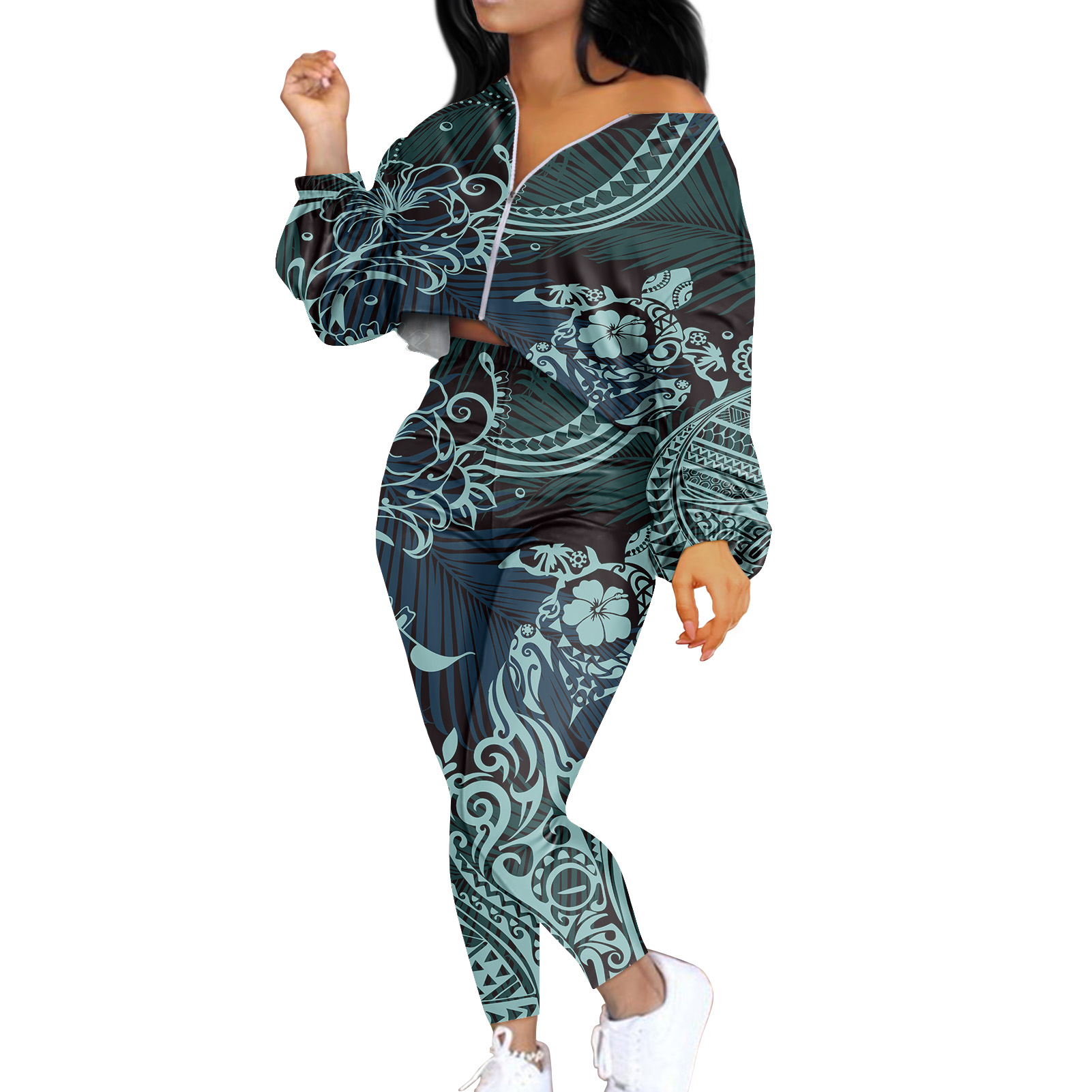 Women Side Striped Print Long Sleves Zipper Coat Bodycon Pants Outfits Tracksuit