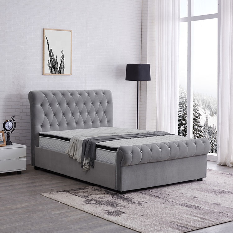 New grey double king size storage tufted sleigh bed