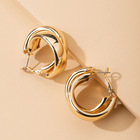 Gold Earrings Shape Hoop Earrings European Fashion Minimalist 18K Gold Plated C Shape Drop Earrings Crossover Circle Chunky Hoop Earrings