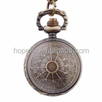 WAH776 Small Antique Bronze Globe Ball Necklace Pocket Watch