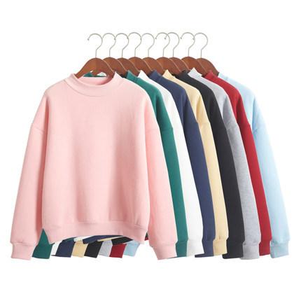 2021 Autumn/winter S-2XL solid color Sweatshirt fleec pullover turtleneck loose crewneck streetwear