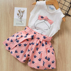 Baby Girl Summer Clothes Sets Sleeveless Cartoon T Shirt Shorts Set 2-8 Years Girls Casual Bow Comfortable Two Piece Outfit