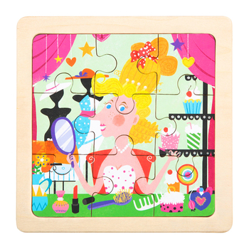 Puzzle Toys Wood Animal Cartoon Wooden Jigsaw Puzzle for Kids and Toddlers
