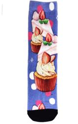 Wuxi Mingyi new design style casual fashion dessert cake printing series cotton cutom women's printed socks