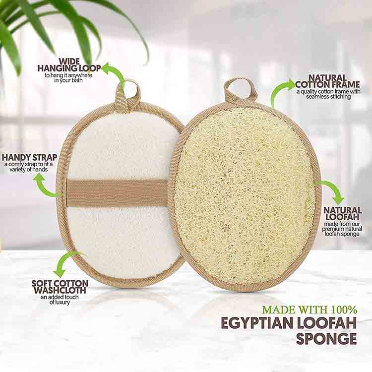 100% натуральный, изготовлен из губки Loufa и мягких хлопковых материалов, Высококачественная отшелушивающая губка