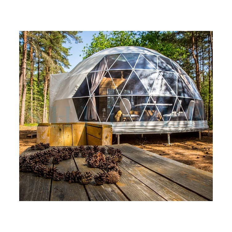 Luxury Geodesic Dome Glamping Tent for Outdoors with Sunlight Windows