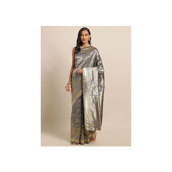 Grey Banarasi Silk Woven Jacquard Saree Bollywood Stylish Saree Party Wear Sari Indian