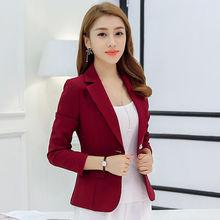 Новинка, модные женские блейзеры, весна-осень, Тонкий Блейзер с длинными рукавами, Feminino, на одной пуговице, повседневная куртка для женщин, ...(Китай)