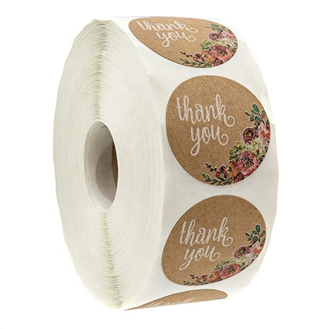 Thank You for Small Business Adhesive Roll Round Scrapbooking Sealing Labels 500 Thank you Sticker