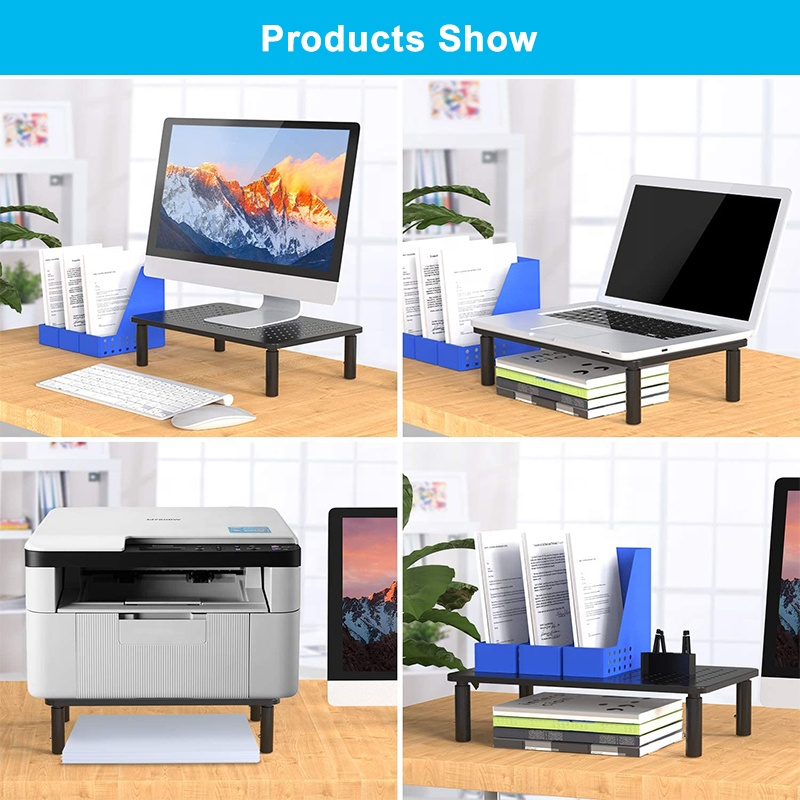 Ergonomic 3 height adjustable with Mesh Platform for Laptop Computer Printer iMac PC Metal Monitor Holder Stand Riser