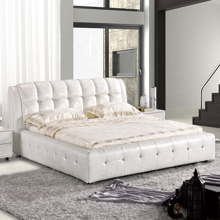 European modern figure design soft comfortable bed warmer clear white fabric leather white wood queen bed