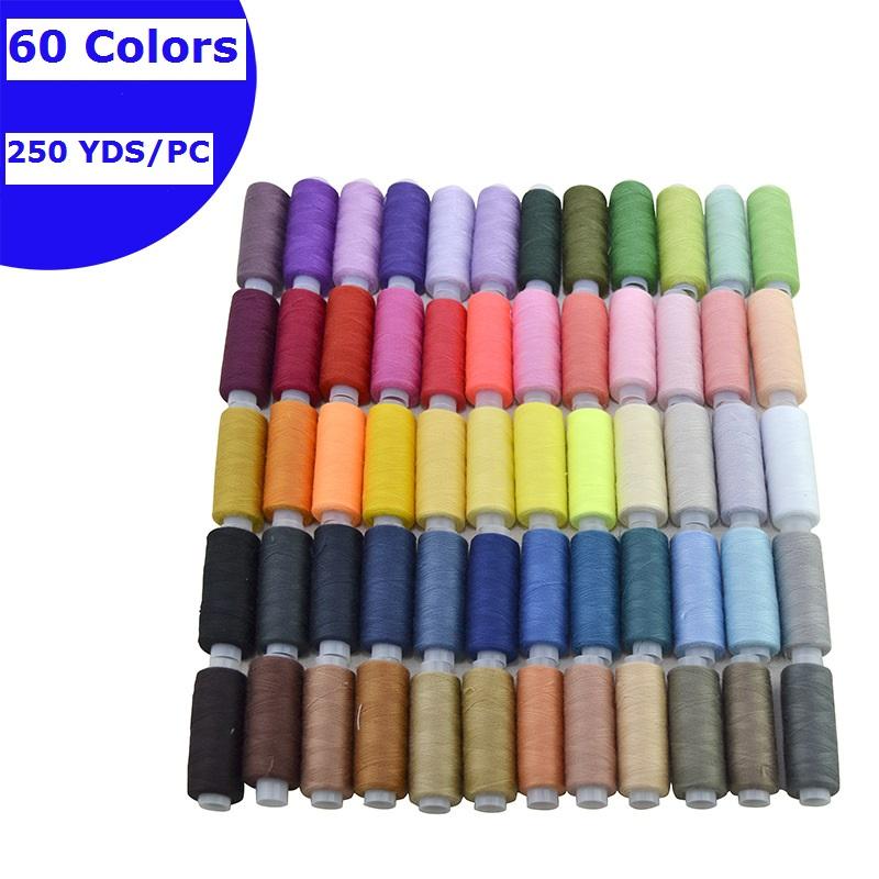 Производство небольшие катушки маленькая конусная 40/2 100% полиэстровые швейные нити комплект 250yds каждая катушка 12 видов цветов 24 цвета 60 цветов