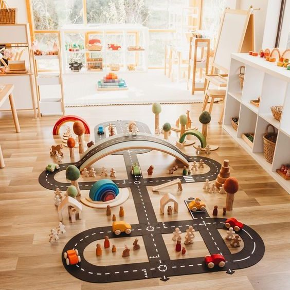 Flexible Car Track Set for Kids other toys baby nursery train toys train slot toys wooden train set railway track pvc track play