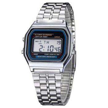 F91W Ultra-Thin Movement Electronic wristwatch Metal Multi-Function Luminous stainless steel Strap digital watch