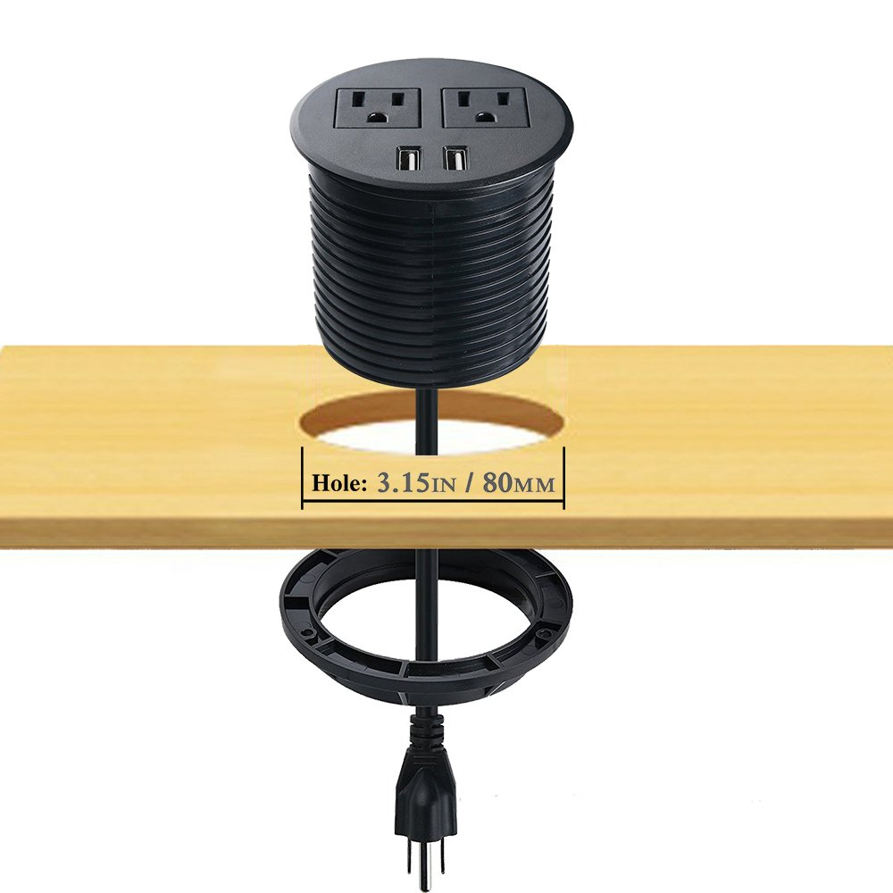 80mm cut hole In desk power and USB desk grommet socket/Recessed Table Power Outlet with 2 US Plugs & 2 USB Charging Ports