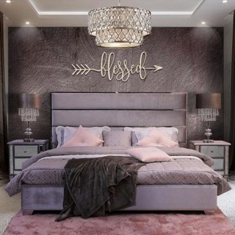 latest modern luxury design Turkish furniture queen metal bed frame strips tufted velvet bed purple double bed